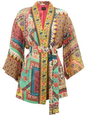 Etro Dalia Belted Printed Floral-jacquard Jacket - Womens - Red Multi