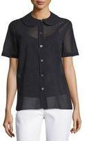 Michael Kors Button-Front Semisheer Shirt, Black