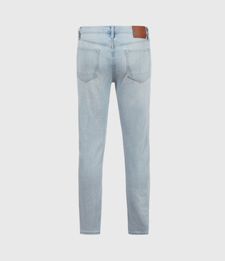 AllSaints Dean Damaged Slim Jeans, Light Indigo