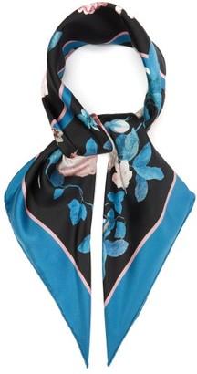 Erdem Floral-print Silk Scarf - Womens - Black Pink