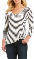 Moa Moa Striped V-Neck 3/4 Sleeve Knot Front Tee