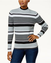 Karen Scott Petite Cotton Striped Mock-Neck Sweater, Created for Macy's