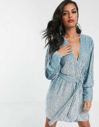 Asos Edition EDITION sequin wrap mini dress-Blue