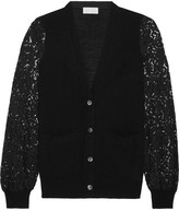 Clu Guipure Lace-paneled Knitted Cardigan - Black