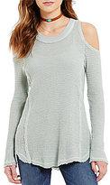 Elan ELAN Raw-Edge Cold-Shoulder Sweater