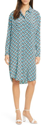 Diane von Furstenberg Aliana Geo Print Long Sleeve Silk Shirtdress