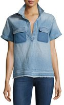 AG Jeans Peter Collared Patched Denim Top