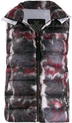 Mr & Mrs Italy fur-print down gilet
