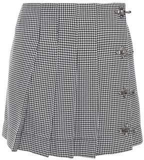 Rokh Pleated Embellished Denim Mini Skirt