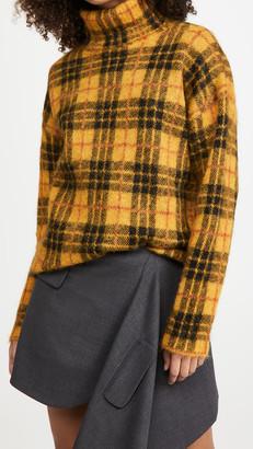 Monse Tartan Mohair Turtleneck Sweater