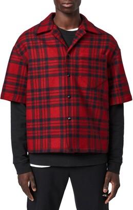 AllSaints Marley Plaid Short Sleeve Wool Blend Flannel Snap-Up Shirt