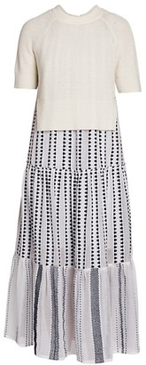 Agnona x LemLem Cotton & Cashmere Layered Midi Dress