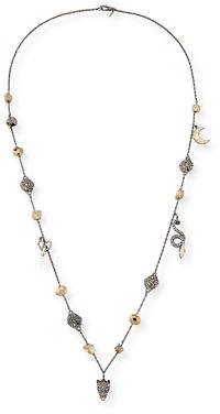 Alexis Bittar Mixed Crystal Charm Necklace, 38""