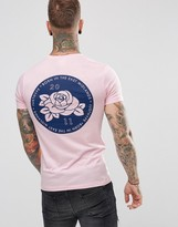 Hype T-shirt In Pink With Rose Back Print