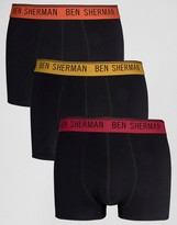 Ben Sherman 3 Pack Boxers With Colour Waist Band