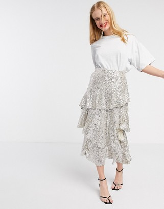 Topshop sequin midi skirt in silver