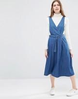 Asos Denim Wrap Front Pinafore Midi Dress