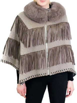 Belle Fare Fox Fur Collar Wool Leather Fringe Poncho Jacket
