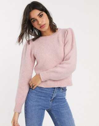 Only knitted jumper with puff sleeves in pink