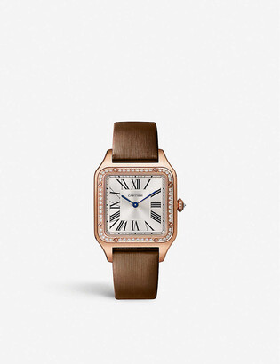 Cartier Santos-Dumont large 18ct rose-gold, diamond and leather watch