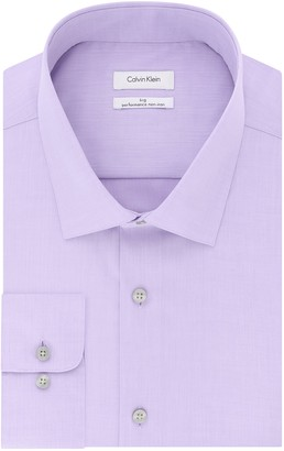 Calvin Klein Men's Big-Tall Non Iron Tall Fit Herringbone Spread Collar Dress Shirt