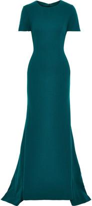 Oscar de la Renta Open-back Wool-blend Crepe Gown