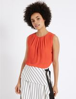 Marks and Spencer Pleated Round Neck Vest Top