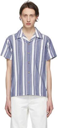 Naked & Famous Denim Denim Blue and White Chambray Slub Stripe Aloha Shirt