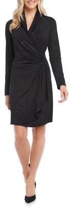 Karen Kane Sparkle Knit Long Sleeve Faux Wrap Dress