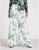 Stella McCartney Tropical-print silk wide-leg trousers
