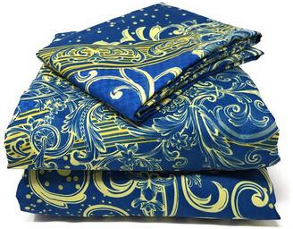Tache Home Fashion Tache Duvet Covers, Zipper and Ties, Navy Blue Damask, King