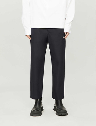 Oamc Zipped pocket tapered slim-fit cotton trousers