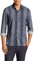 Topman Long Sleeve Petrol Ombre Leopard Print Regular Fit Shirt