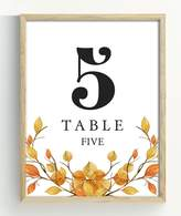 Darling Souvenir, Autumn Theme 1-50 Table Numbers Fall Wedding Reception Decor Table Cards (5x7 Inches)