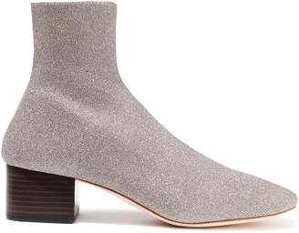 Loeffler Randall Carter Metallic Stretch-knit Sock Boots