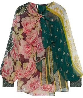 Oscar de la Renta Pussy-bow Layered Printed Silk-chiffon Blouse
