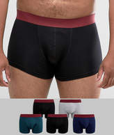 Asos Plus Hipster With Burgundy Waistband 5 Pack