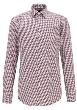 HUGO BOSS Slim Fit Shirt In Cotton With Multi Colored Print - Purple