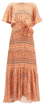 Johanna Ortiz The Quintessence Of Calm Crepe-georgette Dress - Womens - Orange Multi