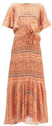 Johanna Ortiz The Quintessence Of Calm Crepe-georgette Dress - Orange Multi