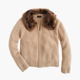 J.Crew Girls' cashmere zip cardigan sweater with furry collar