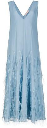 Emilio Pucci feather-detail V-neck evening dress