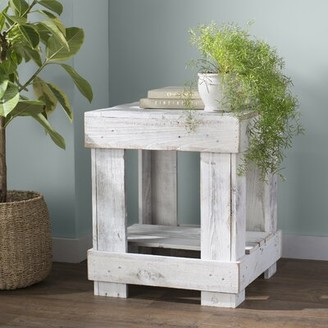 Highland Dunes Sudbury Solid Wood End Table with Storage Color: Distressed White