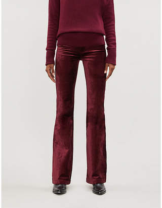 Paige Genevieve flared mid-rise velvet trousers