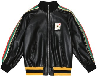 Gucci Kids AppliquAd leather bomber jacket