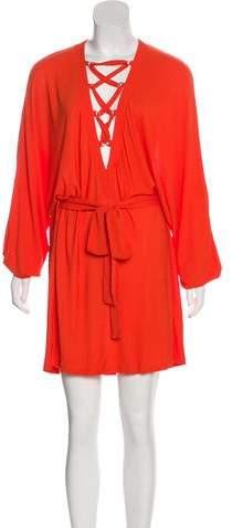 Balmain Lace-Up Mini Dress