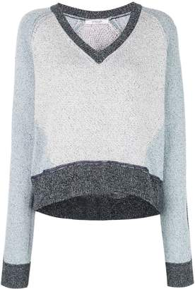 Derek Lam 10 Crosby Colorblock Marled Cotton V-Neck Sweater