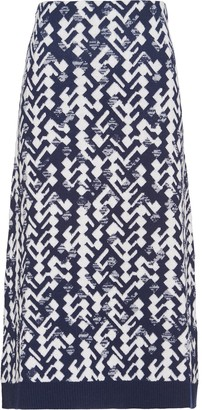 Prada Jacquard Geometric Knitted Skirt