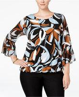 Alfani Plus Size Printed Blouson Blouse, Only at Macy's