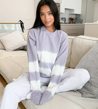 ASOS DESIGN Petite sweatshirt in tie dye stripe